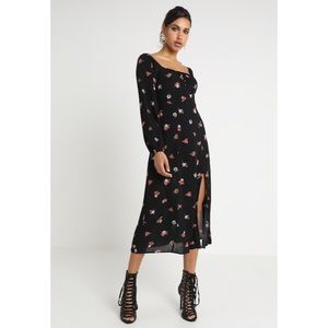 🆕 Black Floral Print Square Neck Midi Dress